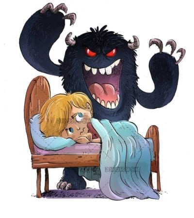 scared boy in bed with monster trying to scare