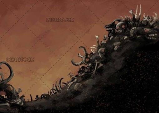 scary bones background