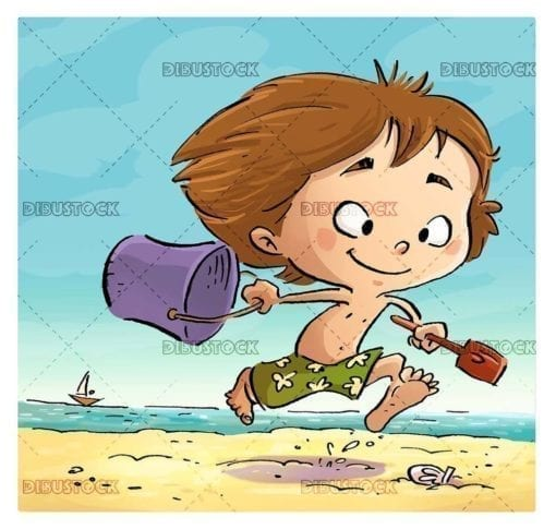 scene of boy running along the beach