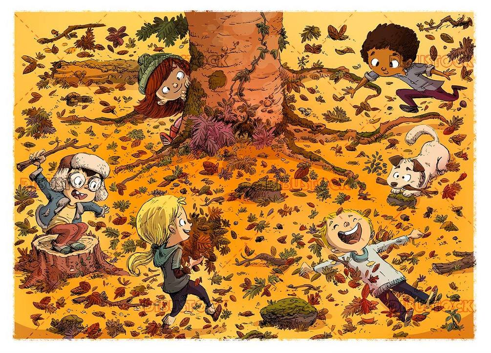 scene of children playing in the forest in autumn