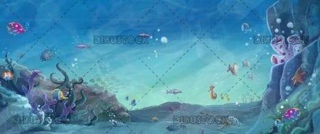 sea E2 80 8B E2 80 8Bbottom with reef and fish