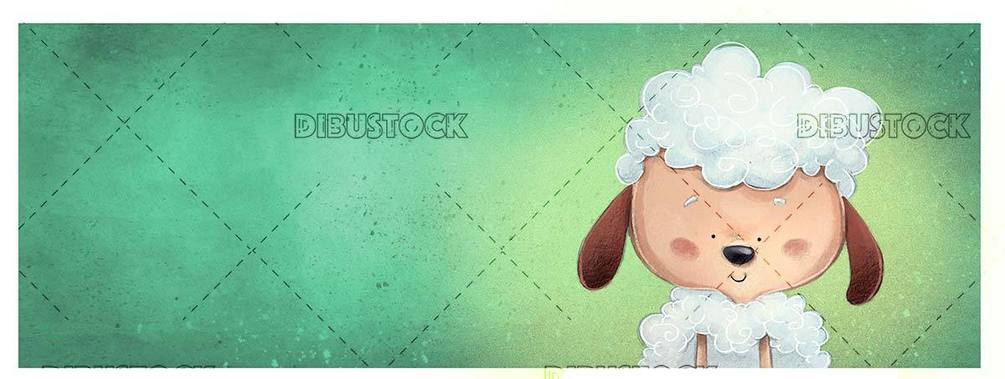 sheep face on green textured background