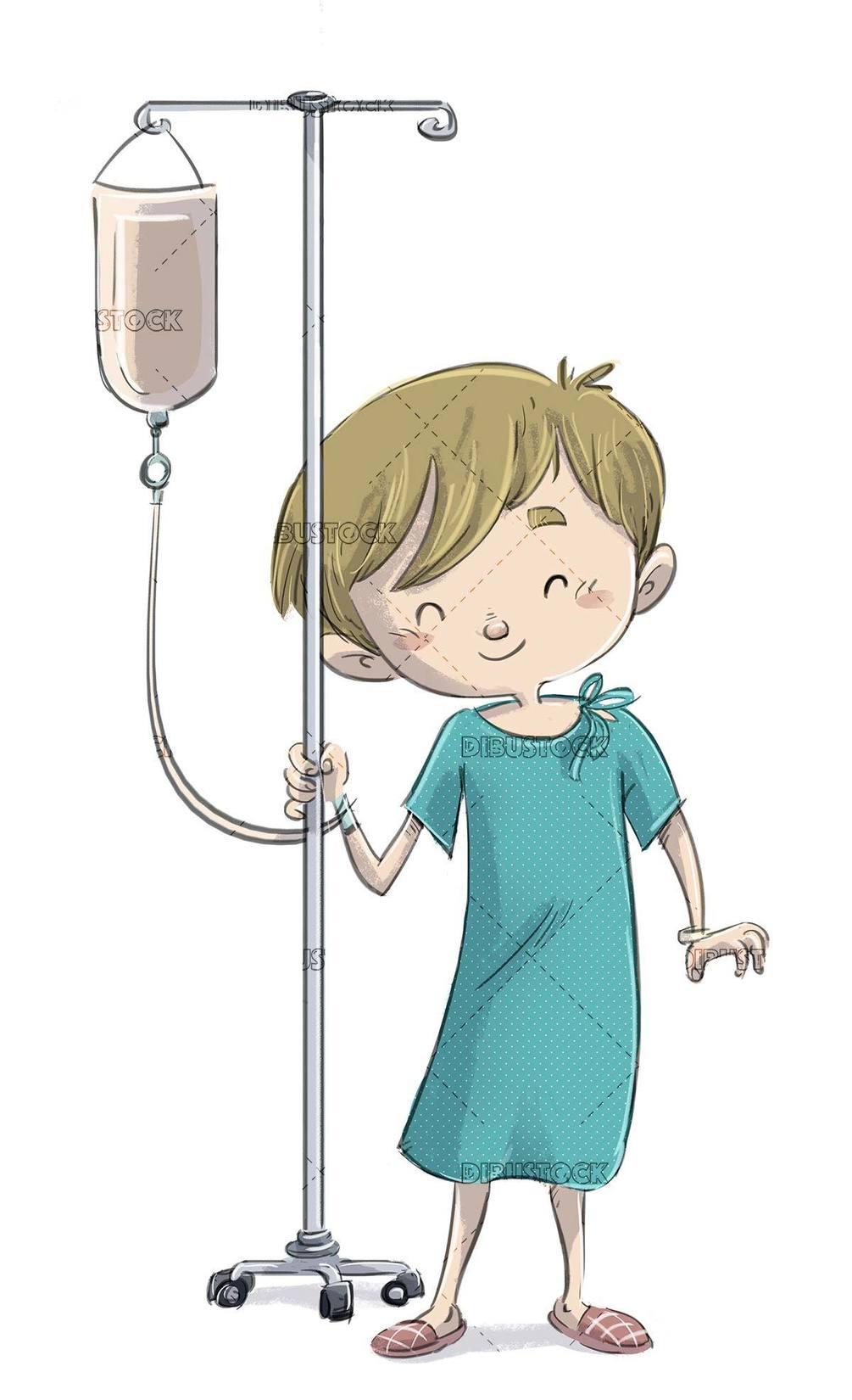 sick boy carrying a serum holder