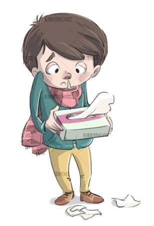 sick boy with tissue box