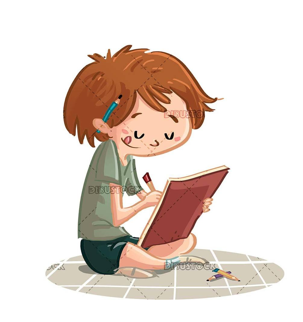 sitting boy drawing in his notebook