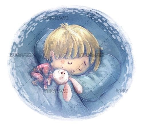 sleeping boy with his stuffed rabbit in a circle