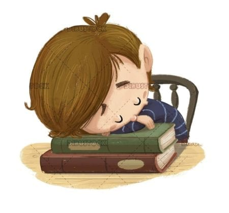 sleeping student boy on books with isolated background