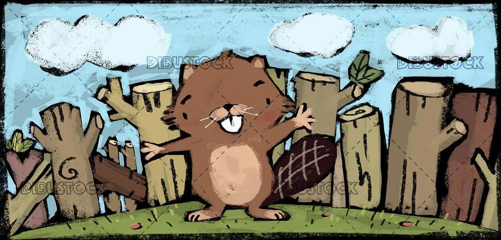 small beaver with trunks behind