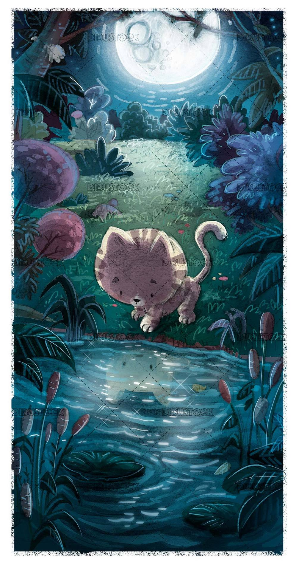 small cat looking in the water reflection