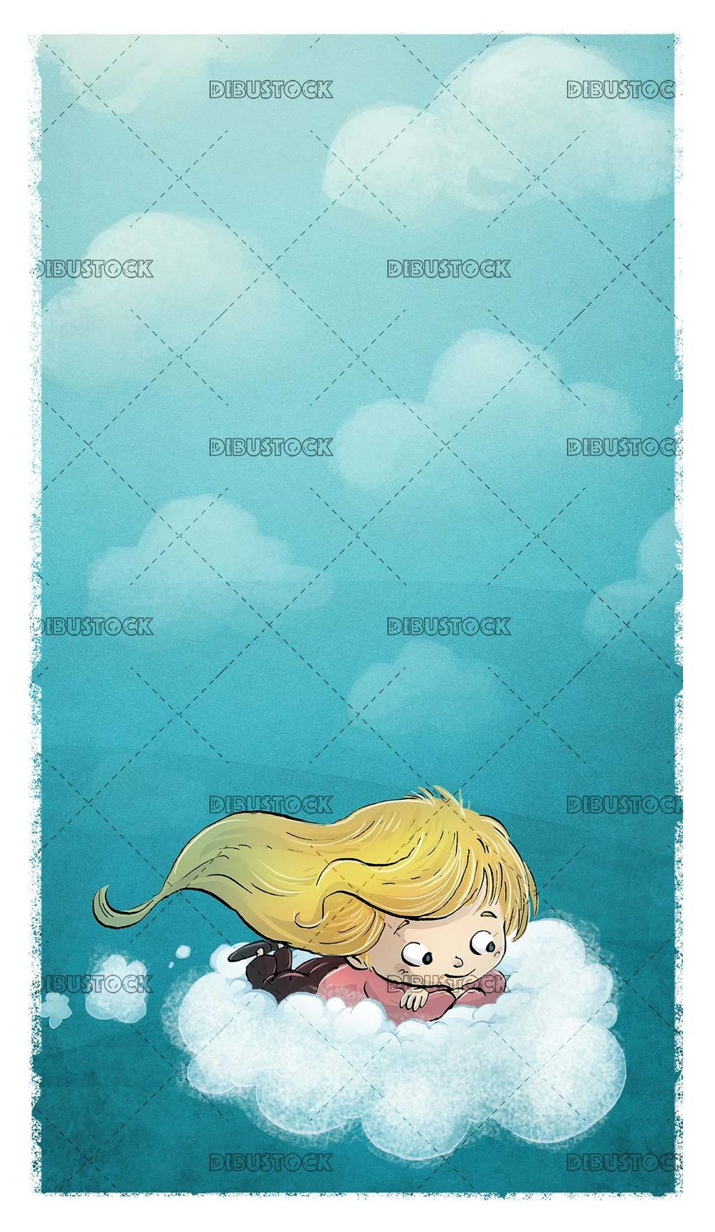 small girl flying on a cloud with blue background