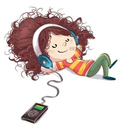 small girl lying listening to music with her player