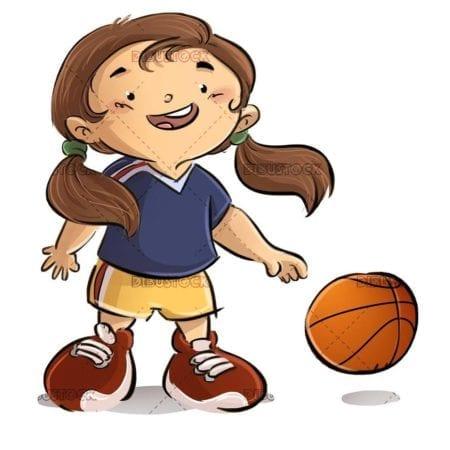 small girl playing basketball with ball