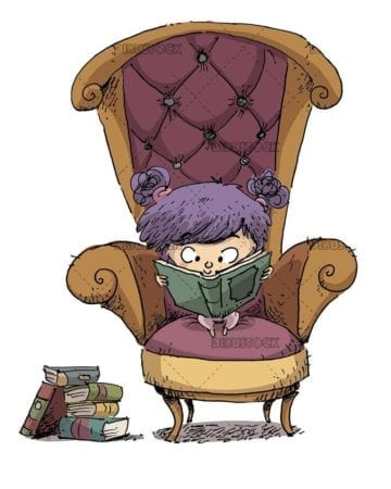 small girl reading a book in a classic armchair