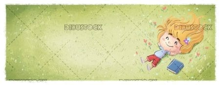 small girl sitting happy in the field with book beside