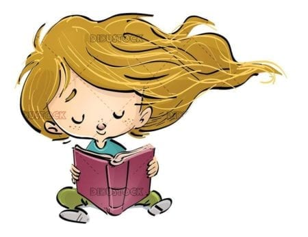 small girl sitting reading a concentrated book