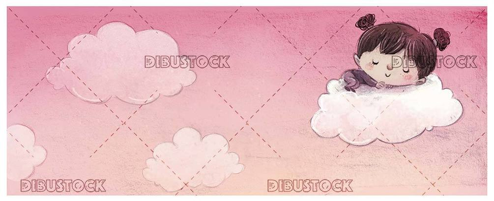 small girl sleeping on a cloud with pink background