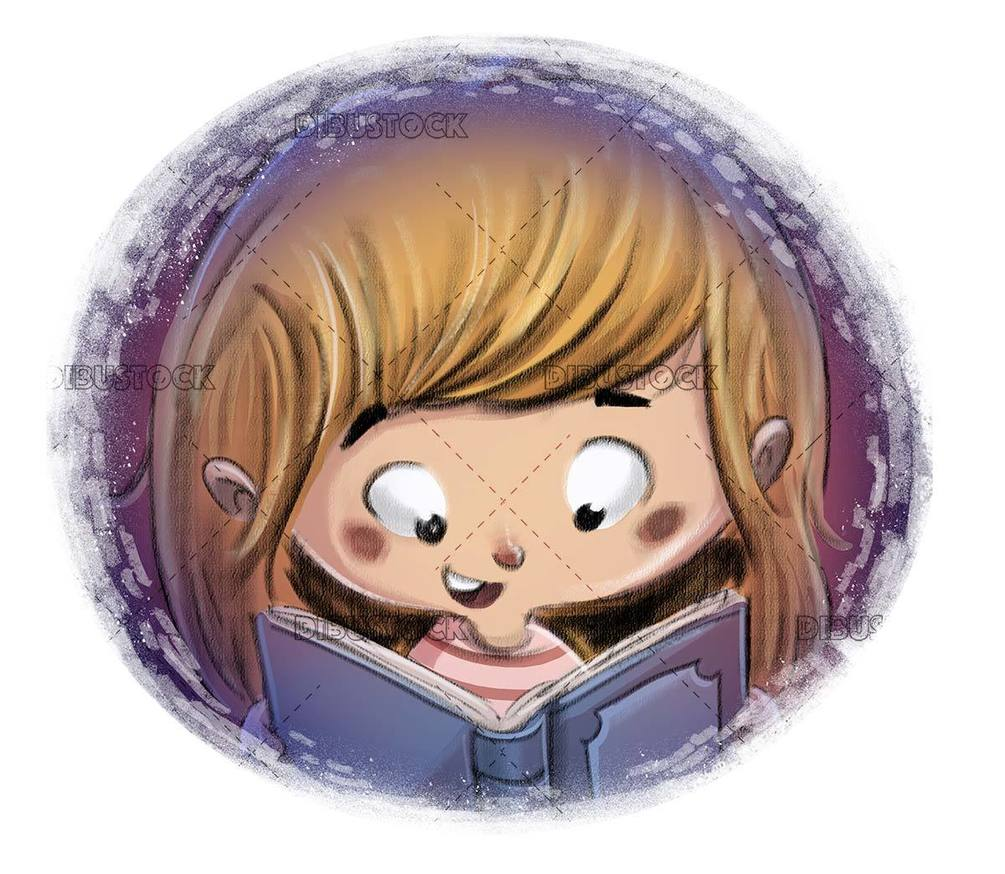 small girl smiling while reading a book in circle