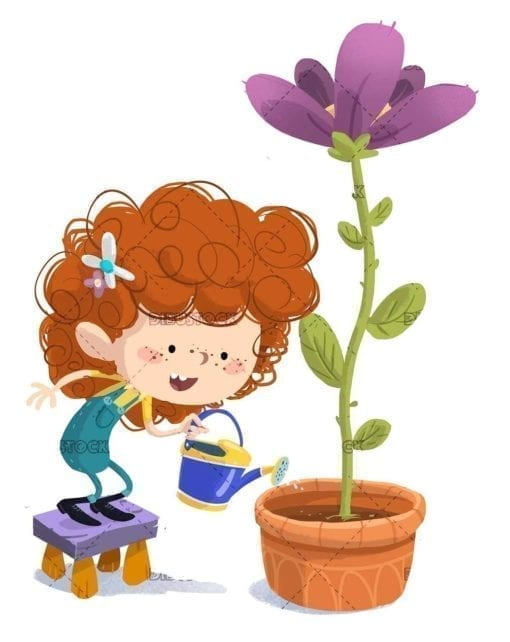 small girl watering a giant flower with watering can