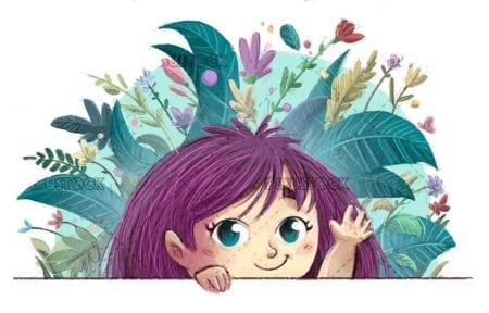 small girl waving with her hand and background with plants