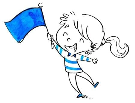 small girl with flag in hand isolated