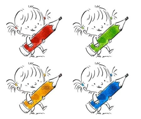 small girl with pencil of different colors