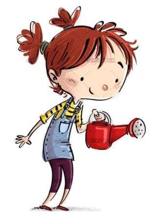 small girl with red watering can