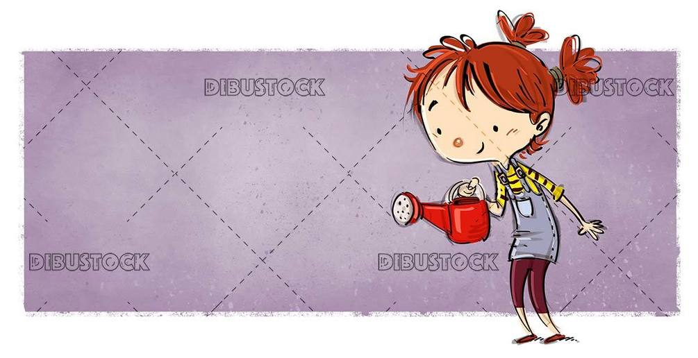 small girl with red watering can and lilac background