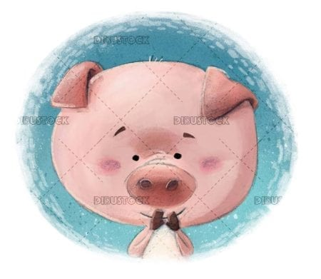 small pig face in circle