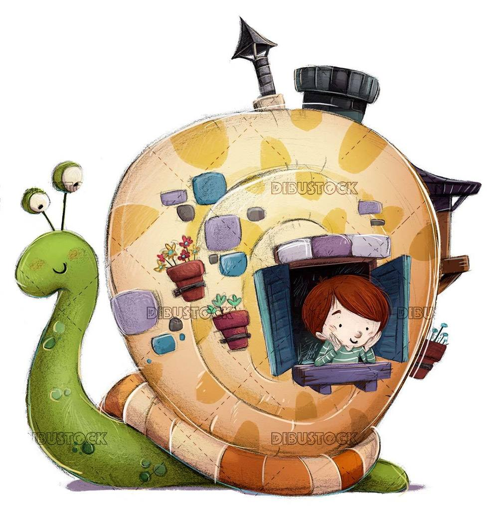 snail with house and child inside