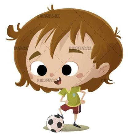 soccer player boy posing with his ball