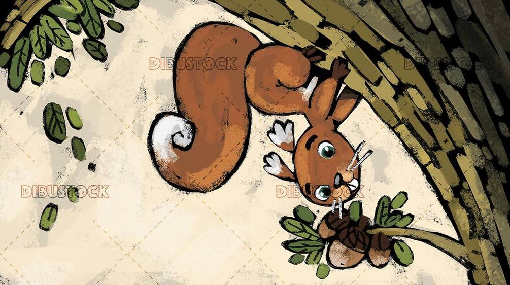 squirrel on a tree about to pick hazelnuts