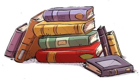 stack of books on isolated background