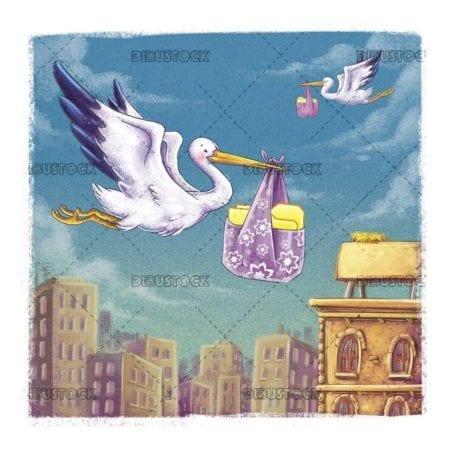 stork carrying a binder in its beak