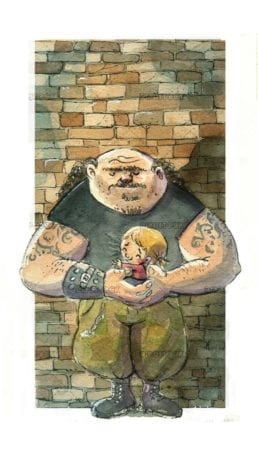 strong man with small girl in arms