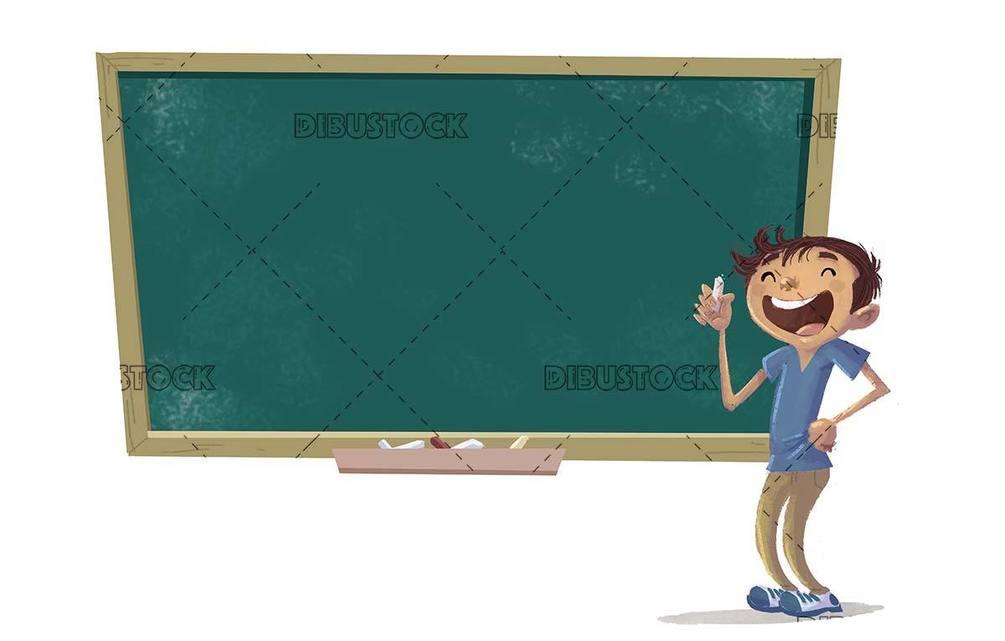 student boy next to a blackboard
