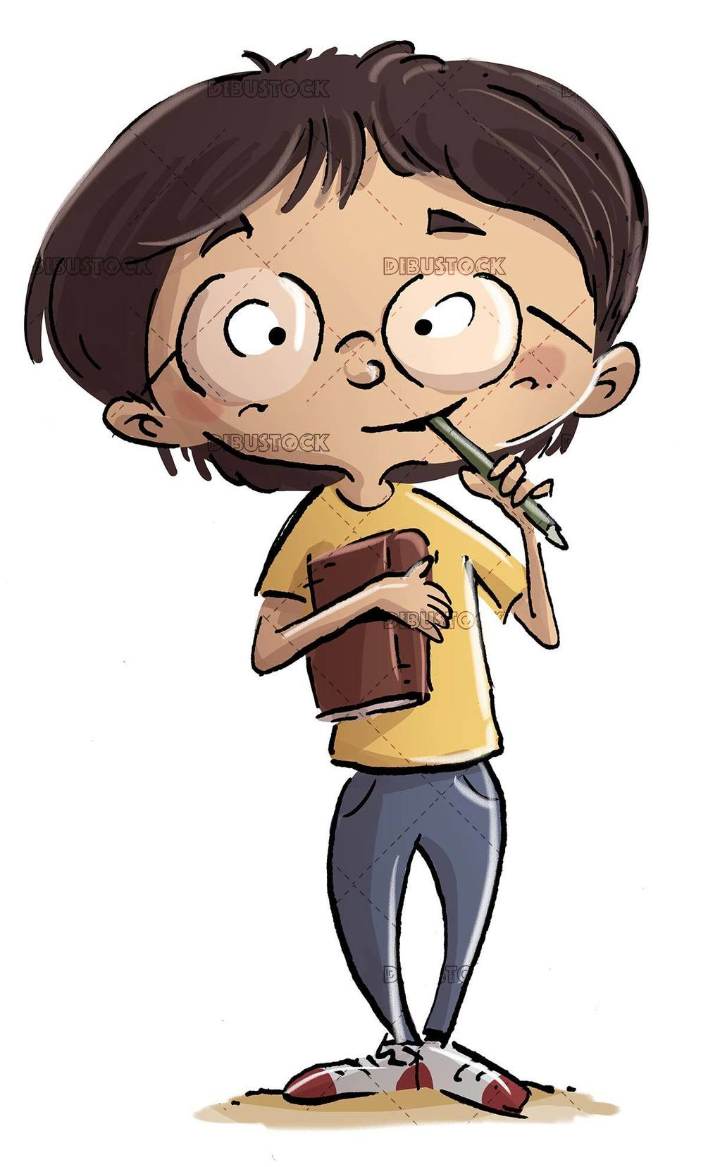 student boy with book and pencil in his mouth