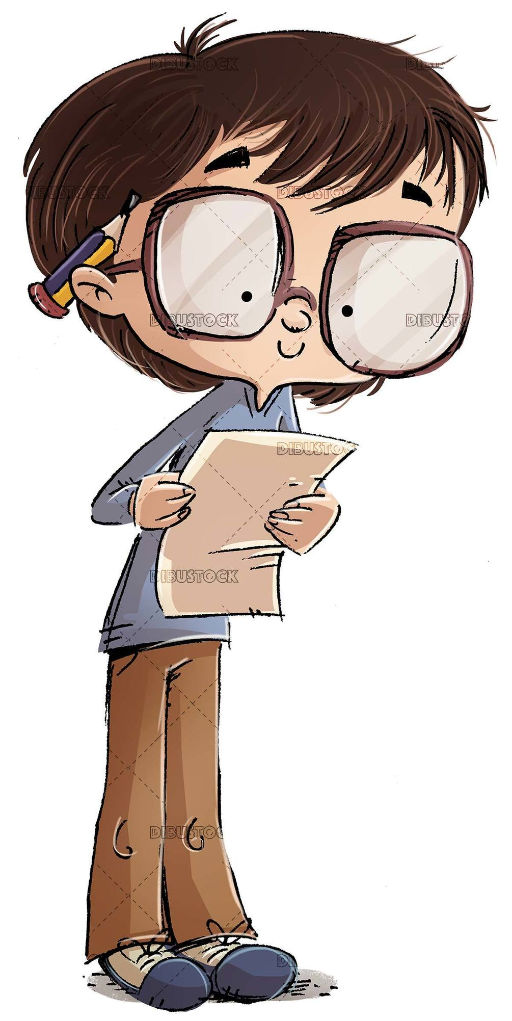 student boy with glasses looking at a paper