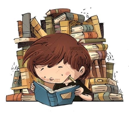 student boy with pencil in his mouth and many books in the background