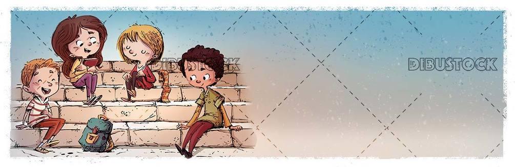 student boys sitting on a ladder