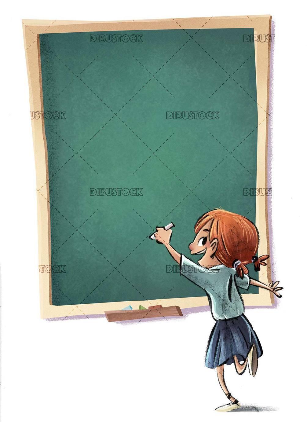 student girl in uniform writing on the blackboard