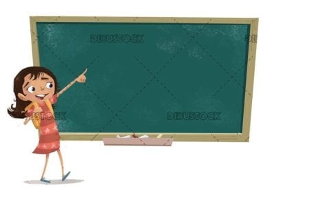 student girl with backpack pointing the blackboard