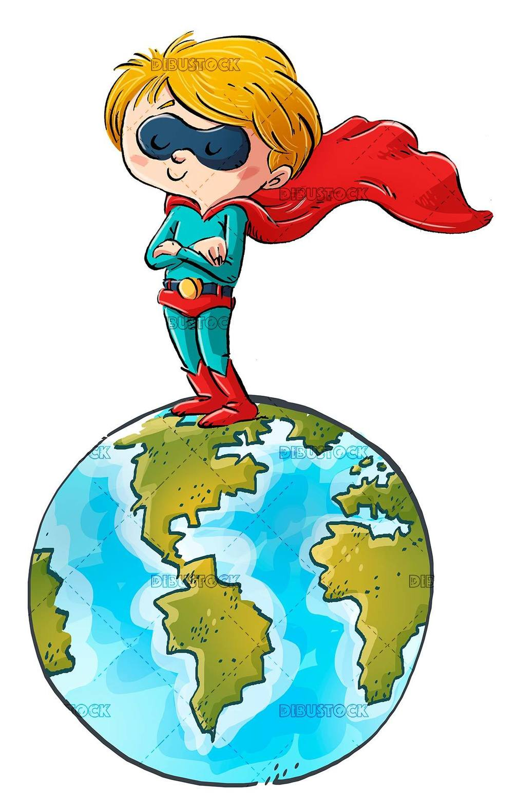 superhero boy on top of planet earth
