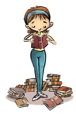 teenage girl reading with books around