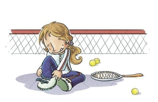 tennis girl tying her shoes