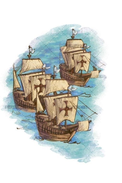 three caravel ships