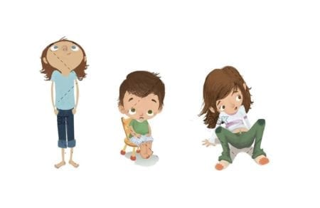 three children in different poses