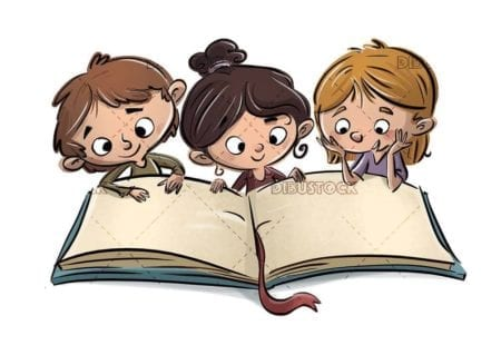 three children with the giant book open