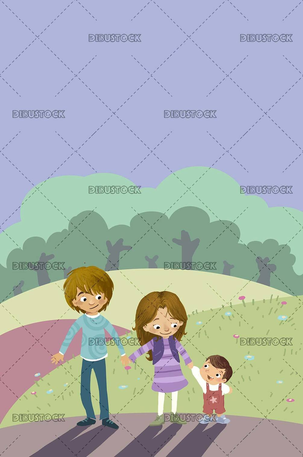 three sibling children in the field