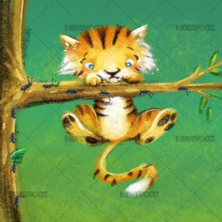 tiger hanging on a branch