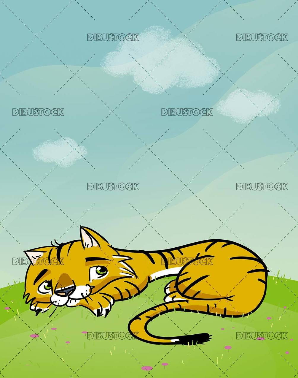 tiger lying in the meadow